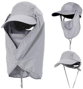 938e196cfed IKBEN Outdoor UV (50 plus) Sun mask - Full mask with flap Sun protection Hat  or Cap (Grey)