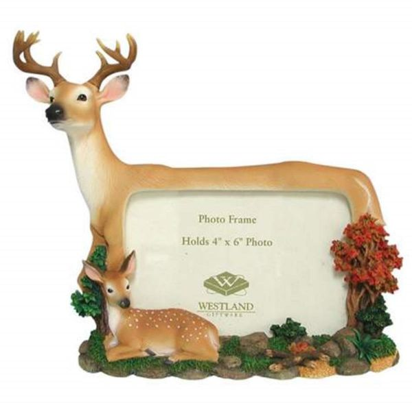 WL SS-WL-14716 Buck & Fawn Deer Woodland Collectible Picture Frame ...
