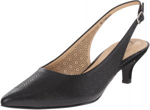 Trotters Womens Slingback Kitten Heeled Pump Black Laser 9 N US