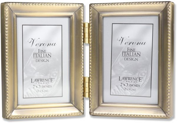 Souq | Lawrence Frames Antique Gold Brass Hinged Double 2x3 Picture ...