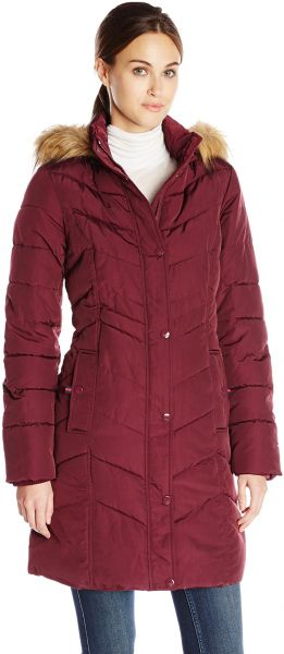 45df71759d Tommy Hilfiger Women s Long Chevron Quilted Down Alternative Coat ...