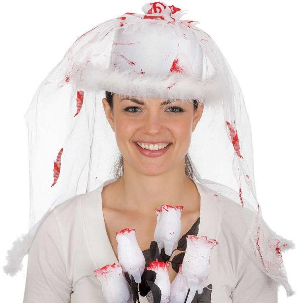 Jacobson Hat Company Women s Bloody Bride Top Hat with Veil b016215a19c
