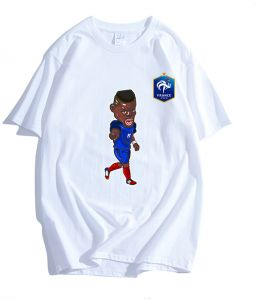 bb5ca1775 2018 FIFA World Cup French Football team Pogba Fans Jersey Commemorative  Short Sleeve T-shirt Top M Code White