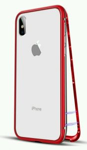huge discount 68cd7 b6bed Apple Iphone X cover/case, magnet with aluminium metal housing bumper case  , 99.9 percent crystal clear 9H tempered glass back case, red