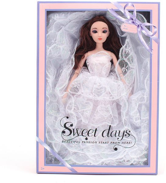 Souq | 12 joint activities white lace Barbie wedding dress gift box ...