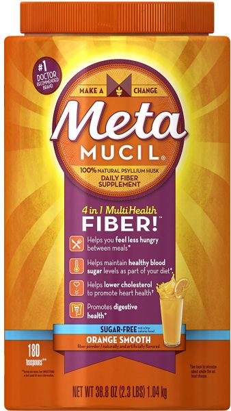 Metamucil Daily Fiber Supplement Orange Smooth Sugar Free Psyllium