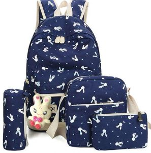 056b714c53 Five Piece Set Backpack Canvas Rabbit Print Backpack Sweet Lady Middle And  High School Students Backpack Travel Bag --- Dark Blue
