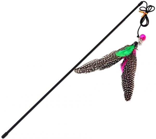 Pet Cat Teaser Wand Feather Catcher Interactive Cat Toys for Exercising