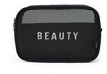 08383576befa Clear Black Cosmetic Bag , Travel Toiletry Bags Zippered Mesh Cosmetic  Organizer Bags Makeup Pouches, Black Large