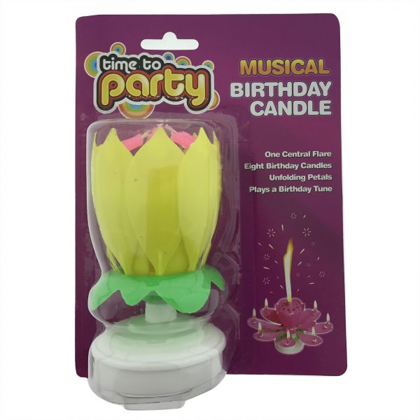 Party Time Unscented Flower Musical Birthday Candle