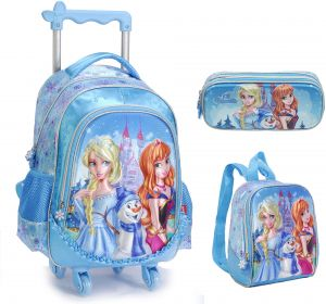 6917be34100e 3D Frozen Princess Elsa and Anna Barbie Lovely Cute School Bag for 3 - 12  Ages Kids Children Girls Backpack Trolley Bags