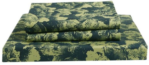 Just Linen 250 TC 100% Cotton Percale Floral Design, Dark Green Color, King  Size Flat Bedsheet With Pillow Covers