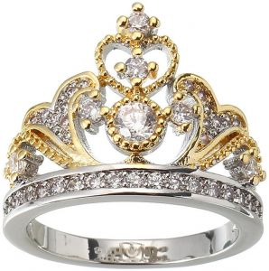 White and Yellow Gold Plated Cubic Zirconia Heart Crown Ring for Women 002331687d91