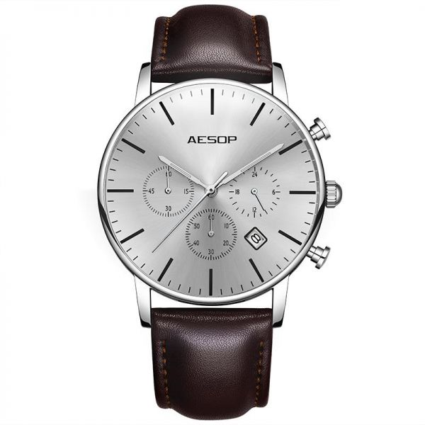 9bb5bc545c5 AESOP Sport Watch Men Quartz Wristwatch Leather Band Male Clock Wrist  Shockproof Waterproof Relogio Masculino Hodinky
