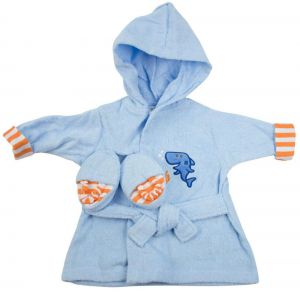 Luvable Friends - Baby Bath Robe with Slippers - Shark 95c5c5fbd