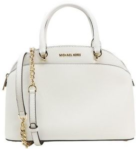 234462cba8be Michael Kors EMMY Cindy Saffiano Leather Large Dome Satchel Handbag optic  White