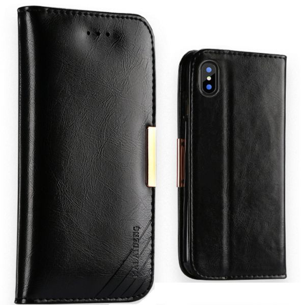 Flip cover for Apple IPhone X Genuine leather Business style stand anti  fall Case with Card Slots and Wallet Black