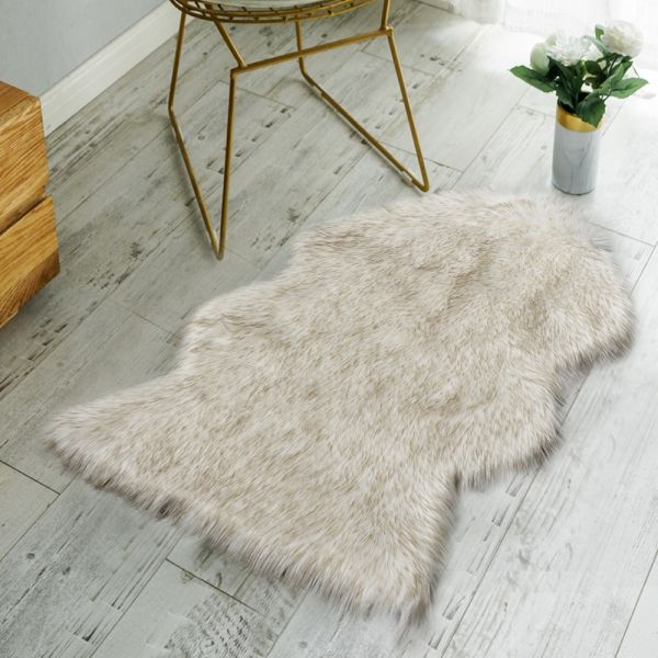 Nordmiex Non Skid Backing Faux Fur Sheepskin Rug Deluxe Soft Chair Cover Seat Cushion Pad Plush Area Rugs For Bedroom Sofa Floor