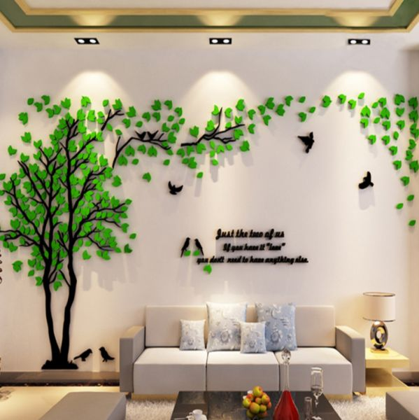 small size green tree acrylic decorative 3d wall sticker diy art tv