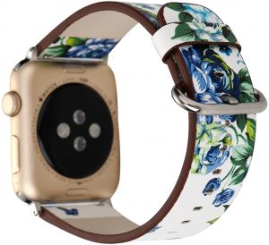 WONMILLE Bracelet for Apple Watch 38mm, Floral Printed PU Leather Watch Band for Apple Watch Series 3 Series 2 Series 1 Sport and Edition White and Green