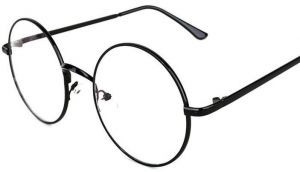 6dc54a9774 Oversized Metal Round Retro Eyeglasses Black Frame Flat Glasses