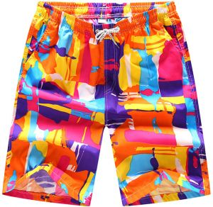 5cf9363e237 Fast Dry Colorful Block Printed Casual Beach Shorts Drawstring Beachwear Swim  Short Pant for Men Boardshorts Size L