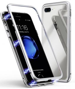 Tempered Glass Hard Back Cover With Built-in Magnets Metal Bumper Frame iPhone 7Plus/8 plus - Silver