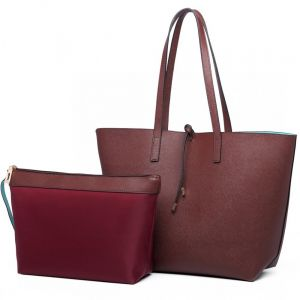 796d67bbd972c Miss Lulu Women Reversible Tote Bag Faux Leather Shoulder Handbag Large  Shopper Set