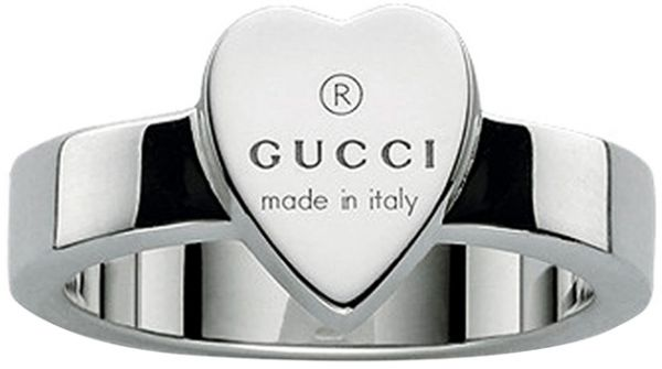99277045046 Gucci Women s Sterling Silver Gucci Trademark Engraved Heart Motif ...