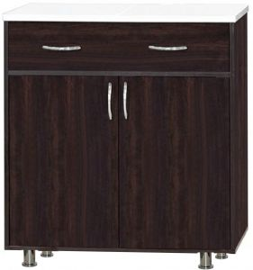 Kitchen Cabinet With Metal Legs   Drawer U0026 Marbel Top Shelf, Brown   KC 002