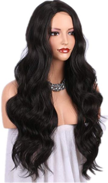 ForQueens Long Curly Wigs for Women Natural Hair Wigs Wavy Black ... 4a2cd7e0e