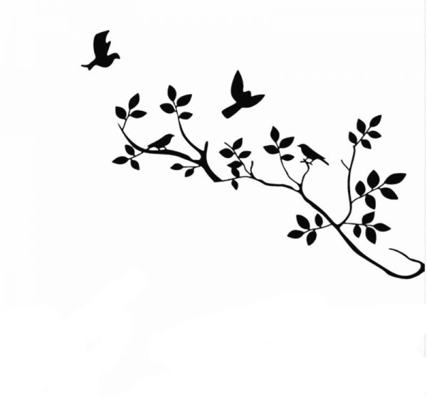 removable black bird tree branch wall stickers wall decal art home