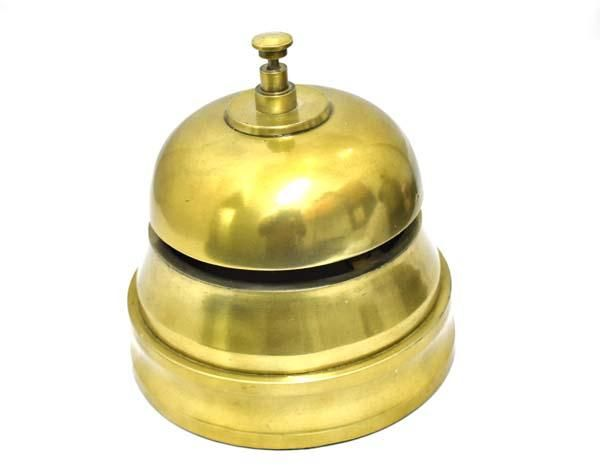 Antique Brass Desk Bell 6 Inch Solid Hotel Counter Officer Call