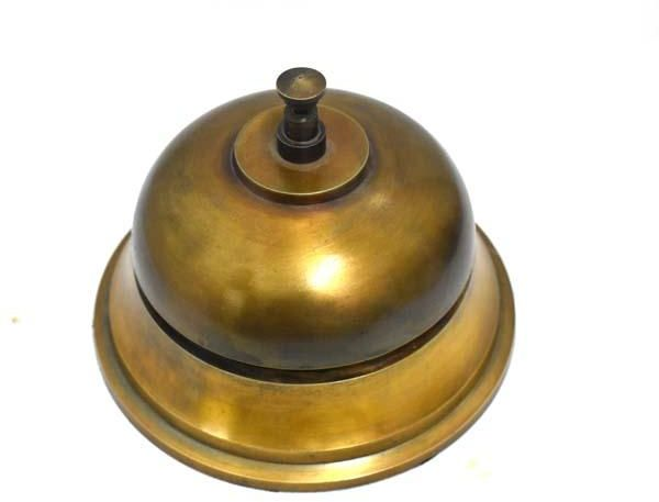 Antique Brass Desk Bell 5 Inch Solid Hotel Counter Officer Call