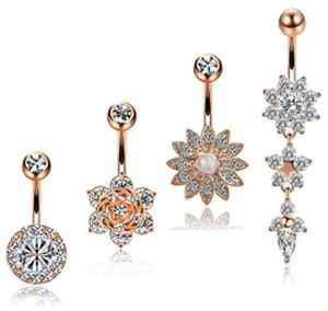 4pcs Set Stainless Steel Flower Crystal Navel Bars Gold Belly Button Ring Navel Piercing Jewelry Body Jewelry Piercing Barbell