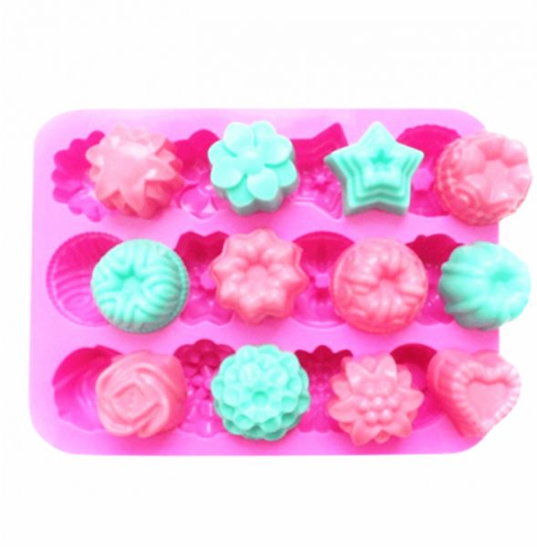 Food Grade Silicone Non-Stick Ice Cube Mold, Jelly, Biscuits, Chocolate, Candy, Cupcake Baking Mould, Muffin Pan (Flowers )