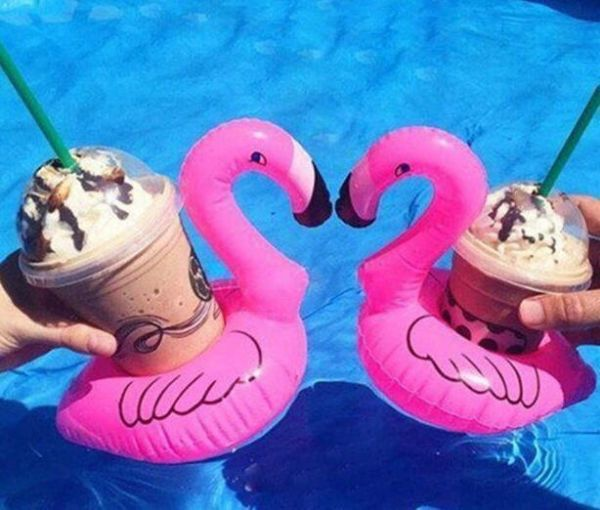 Inflatable Floating Flamingo Drink Holder 2 Pack Swimming Pool Float