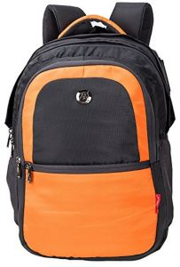 Cosmus New Castle Light Weight Large School Bag Grey   Orange Polyester 36 Litre  Backpack with Rain cover ed218f4cba305
