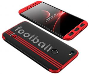 Xiaomi Redmi Note 5A Prime case, Fashion ultra Slim Gkk 360 special edition Football 3d printed Full Protection cover Case - Red & Black