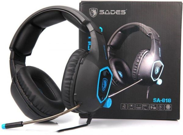 fa464815223 SADES Gaming Headset, SA818 Stereo Gaming Headphones 3.5mm wired Over-ear  Noise-reduction Microphone For PS4/Xbox One/PC/Laptop/Mac/iPad/iPod (Blue &  Black)