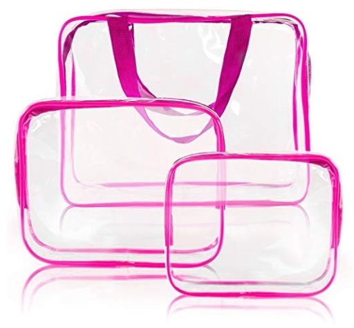 6cc006cbfc82 3Pcs Clear Cosmetic Bag Vinyl Air Travel Toiletry Bags Bulk, Water  Resistant PVC Packing Cubes with Zipper Closure & Carry Handle for Women  Baby Men, ...