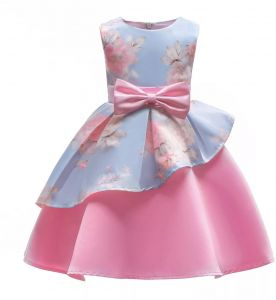 f821f0bad37 Summer girls pink flower dress sleeveless floral printed irregular bow tie  kids party dresses 5-6 years