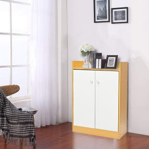 eb15d2444d Vogue Multi Purpose Cabinet with a 2 Door Cabinet and Single Open Shelf,  White & Brown - H 840 mm x W 600 mm x D 300 mm
