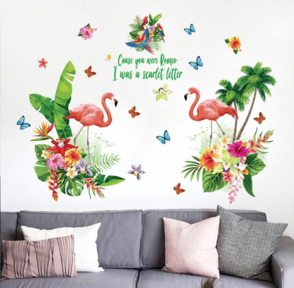 flamingos and green plants leaves pastoral style wall stickers wall