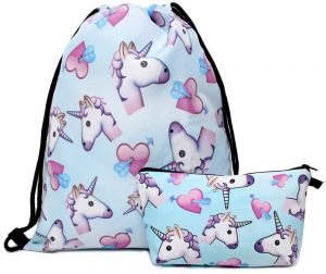 cfbb49deb9b 3PCS  set Women Printed Unicorn Backpack School Bags For Teenage Girls  Shoulder Drawstring Bags