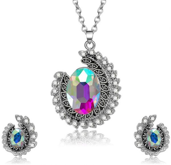 Colorful crystal Many aspects Necklace  Pendant Crystal Silver Colorful Color Women Elegant Colored Chain earings set