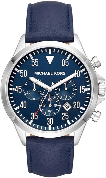 ab64dcc60ff2 Michael Kors Gage Men s Navy Blue Dial Leather Band Watch - MK8617