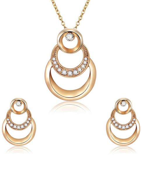 Retro Necklace diamond-encrusted cyclic annular Shape Pendant Necklace earings set Gifts for Women