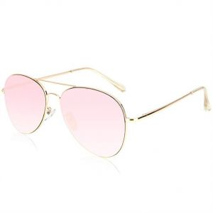 SOJOS Classic Aviator Mirrored Flat Lens Sunglasses Metal Frame with Spring  Hinges - Pink Lens, SJ1030 6924a191df