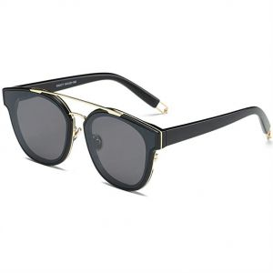 5bc71f26fc2 SOJOS Classic Square Sunglasses for Women Men Flat Mirrored Lens - Black  Lens